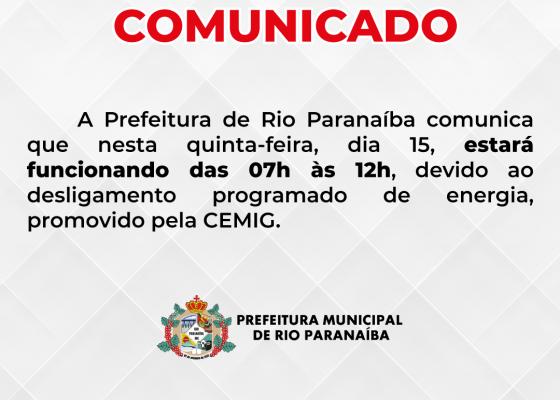 Comunicado sobre o funcionamento do prédio administrativo